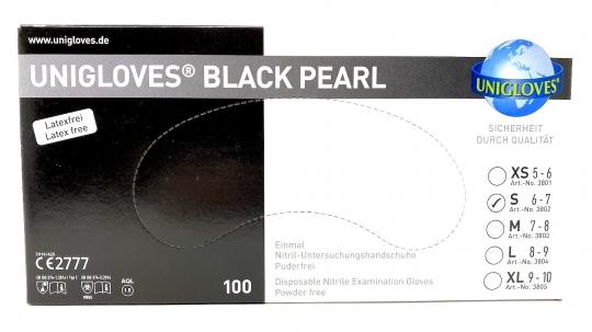 "Unigloves Nitril-Einweghandschuhe ""BLACK PEARL"" Puderfrei 100St."