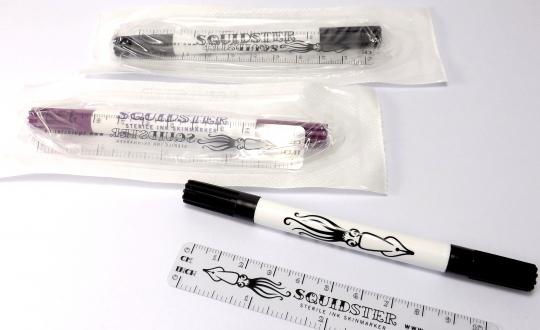 Squidster Hautstift steril mit Lineal Hautschreiber