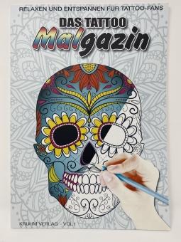 Tattoo Buch Das Tattoo Malgazin - Vorlagen Motive Zeichenbuch - 50 Seiten - Softcover Neu