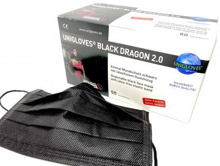 UNIGLOVES Mundschutz Black Dragon 2.0 mit Aktiv-Kohlefilter - 4-lagig